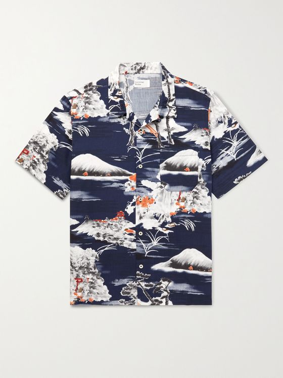 UNIVERSAL WORKS Road Camp-Collar Printed Cotton Shirt