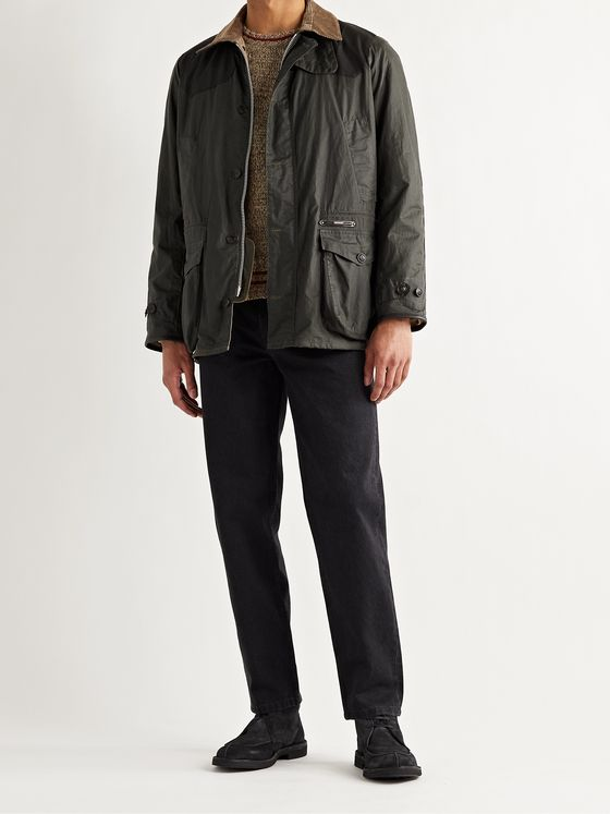 BARBOUR GOLD STANDARD Oakby Corduroy-Trimmed Waxed-Cotton Jacket