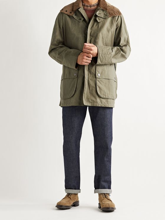 BARBOUR GOLD STANDARD Beaufort Corduroy-Trimmed Cotton-Ripstop Hooded Jacket