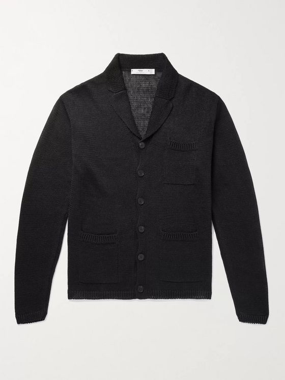 INIS MEÁIN Slim-Fit Camp-Collar Linen Cardigan