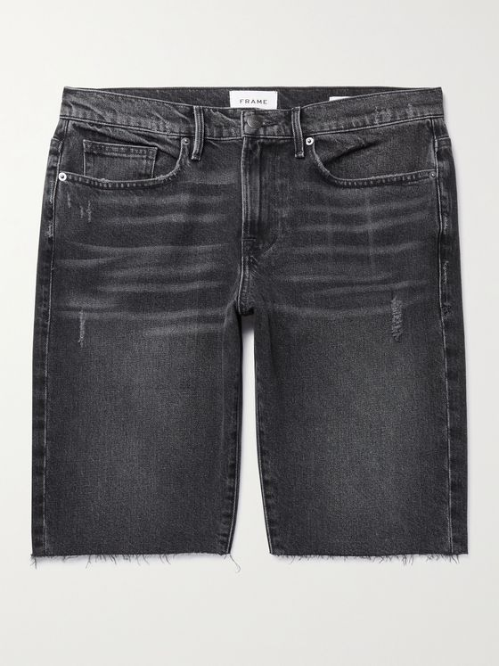 FRAME L'Homme Slim-Fit Distressed Denim Shorts