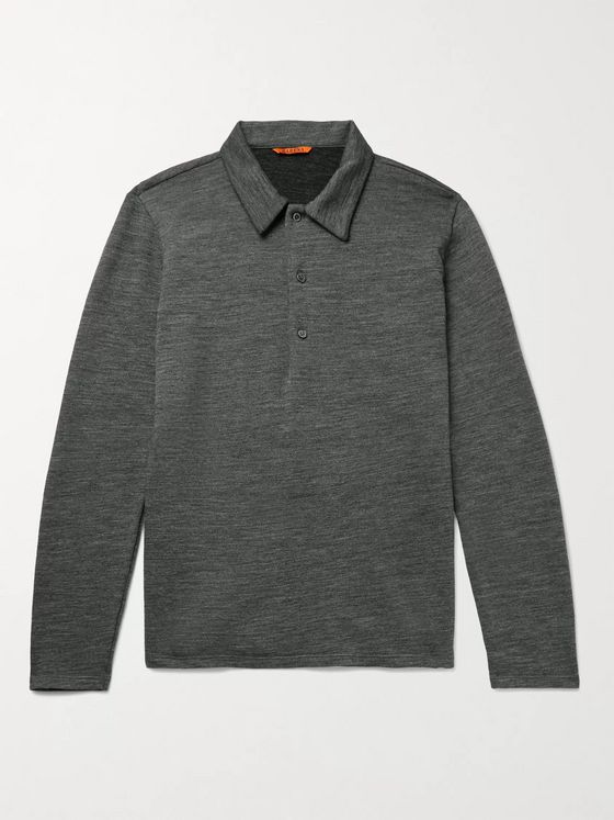 BARENA Mélange Wool-Blend Polo Shirt