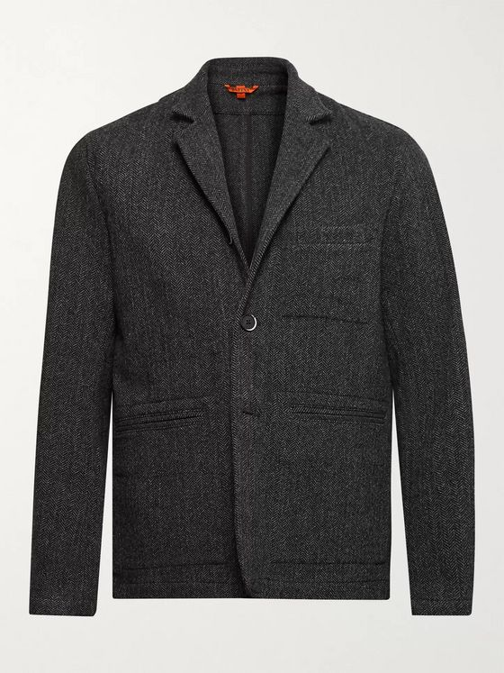 Barena Unstructured Herringbone Wool-Blend Blazer