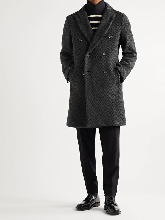 BARENA Double-Breasted Herringbone Wool-Blend Coat