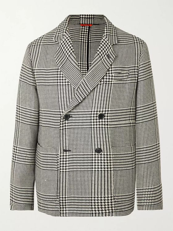 BARENA Unstructured Double-Breasted Prince of Wales Checked Wool-Blend Blazer