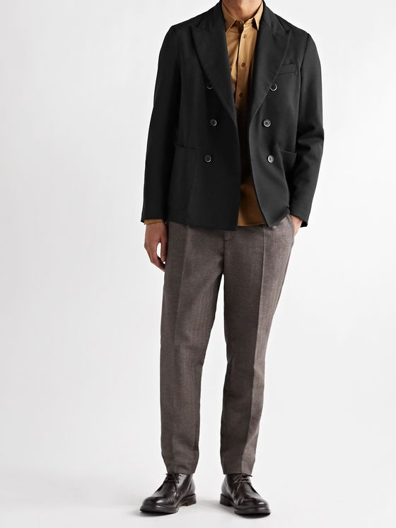 BARENA Unstructured Double-Breasted Woven Blazer