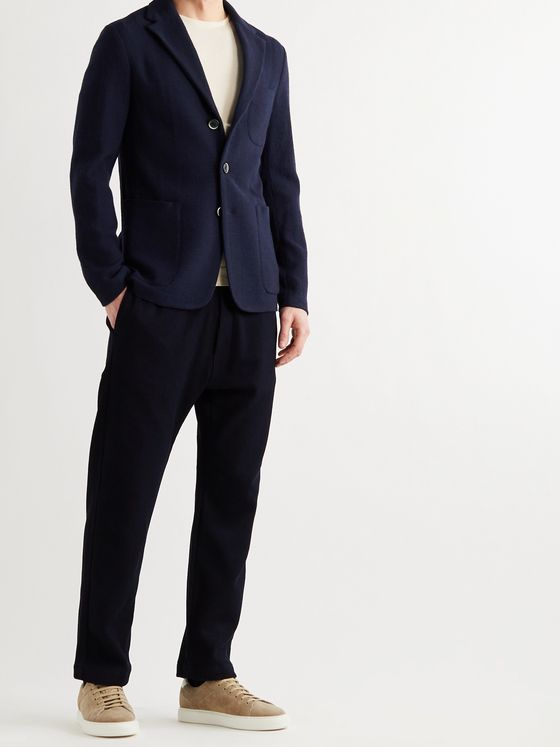 BARENA Unstructured Virgin Wool-Blend Crepe Blazer