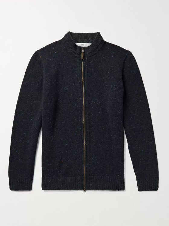 INIS MEÁIN Donegal Merino Wool and Cashmere-Blend Zip-Up Cardigan