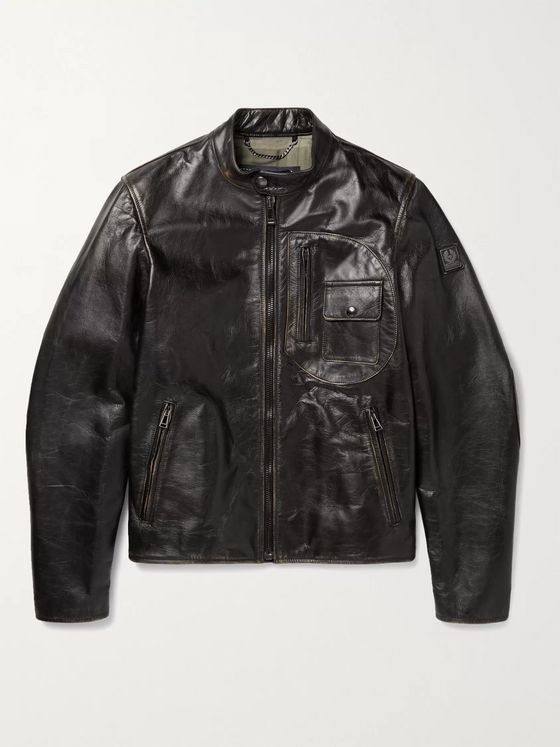 BELSTAFF Langley Logo-Appliquéd Distressed Leather Jacket