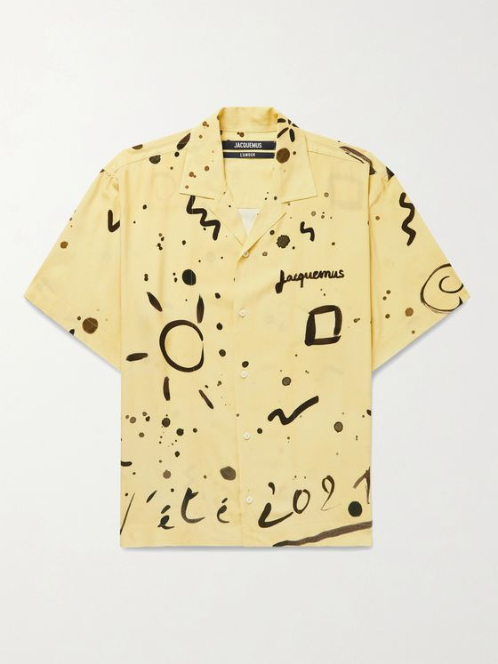 JACQUEMUS Oversized Camp-Collar Printed Woven Shirt