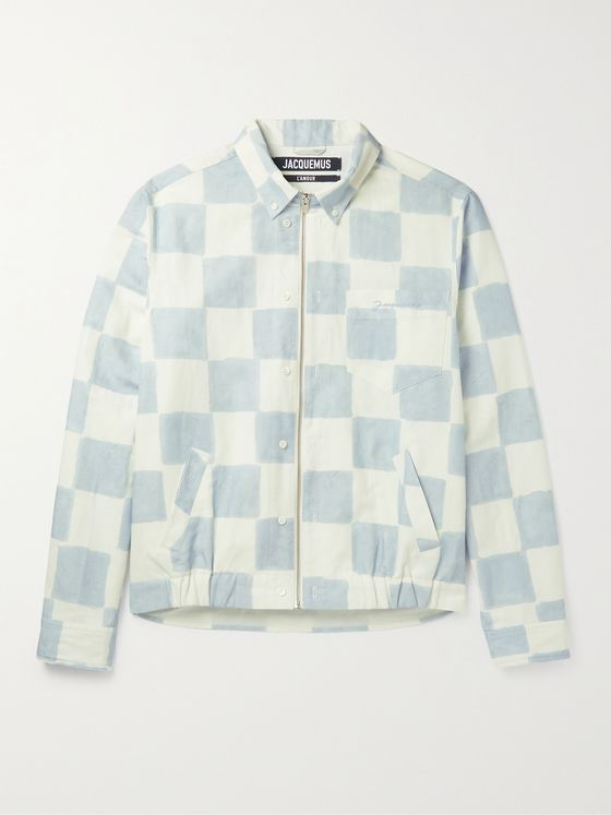JACQUEMUS Checked Cotton and Linen-Blend Blouson Jacket