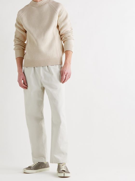 JACQUEMUS Grain Herringbone Tape-Trimmed Cotton Sweater