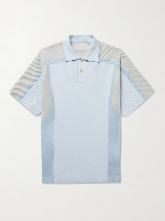 JACQUEMUS Colour-Block Ribbed Cotton-Blend Polo Shirt