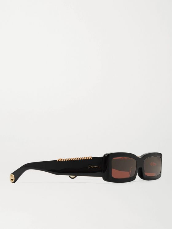 JACQUEMUS Les Lunettes 97 Rectangular-Frame Leather-Trimmed Acetate Sunglasses