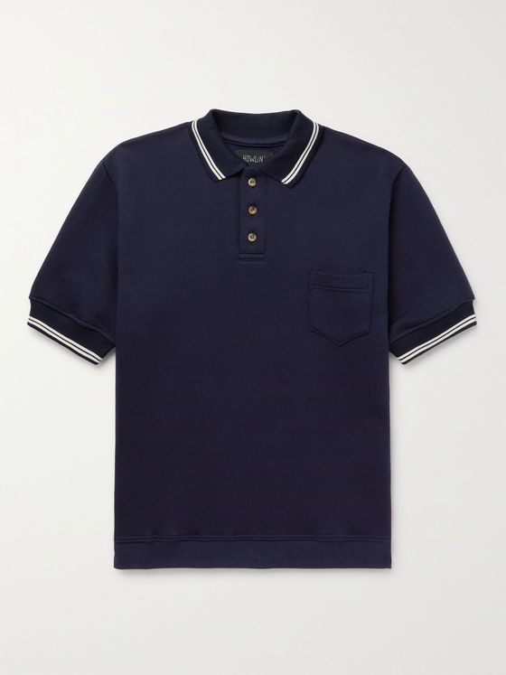 HOWLIN' No Sleeves Landing Stripe-Trimmed Cotton Polo Shirt