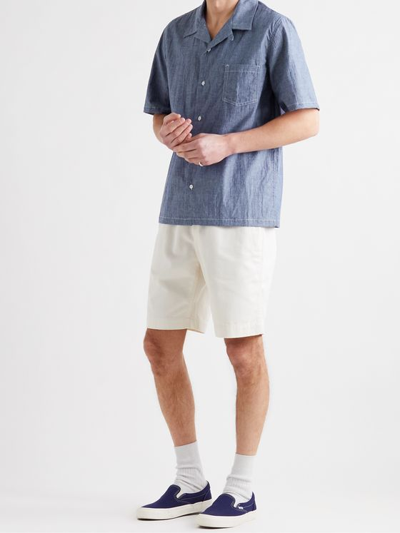 HOWLIN' Cocktail Camp-Collar Cotton-Blend Chambray Shirt