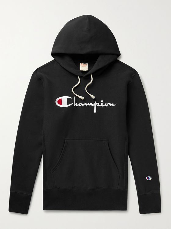 CHAMPION Logo-Embroidered Fleece-Back Cotton-Jersey Hoodie