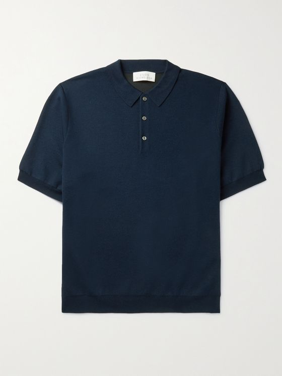 Studio Nicholson Luro Wool, Silk and Cashmere-Blend Polo Shirt