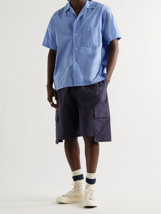 STUDIO NICHOLSON Henta Nylon and Cotton-Blend Drawstring Cargo Shorts