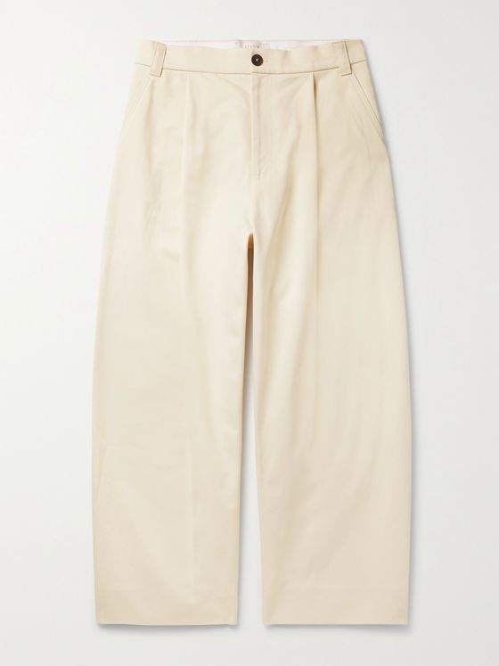 Studio Nicholson Sorte Wide-Leg Pleated Cotton-Twill Trousers