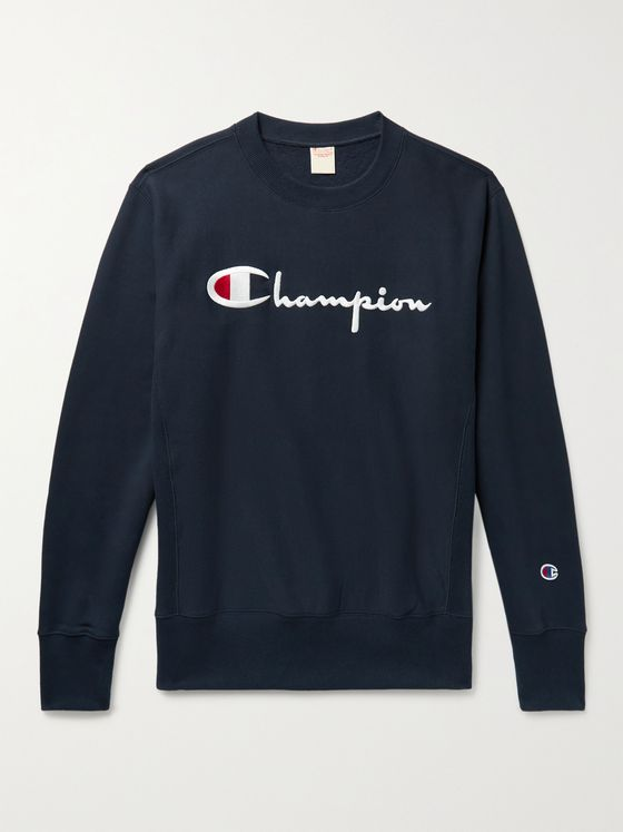 CHAMPION Logo-Embroidered Fleece-Back Cotton-Jersey Sweatshirt