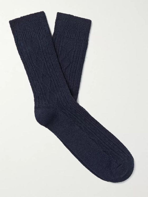 HOWLIN' Cable-Knit Cotton-Blend Socks