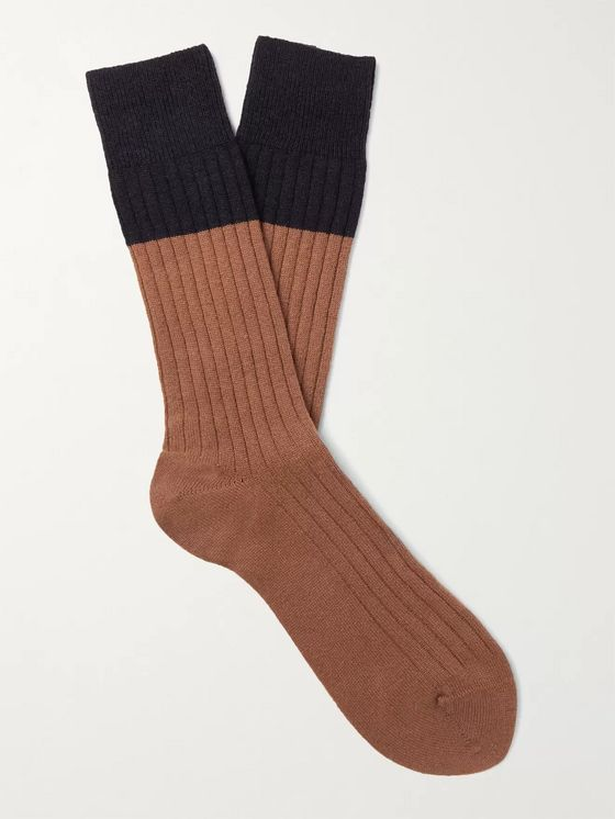 NN07 Colour-Blocked Ribbed-Knit Socks