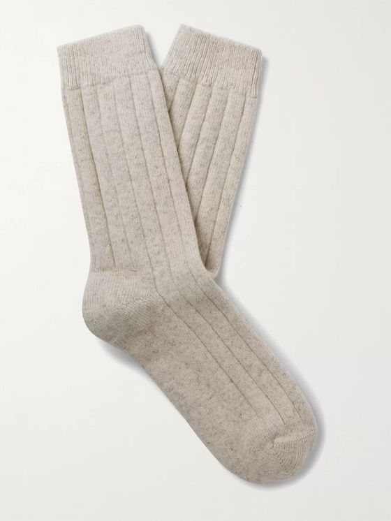 NN07 Ribbed Wool-Blend Socks