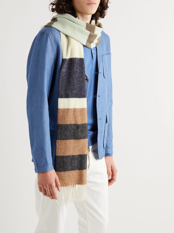 NN07 Fringed Striped Wool Scarf