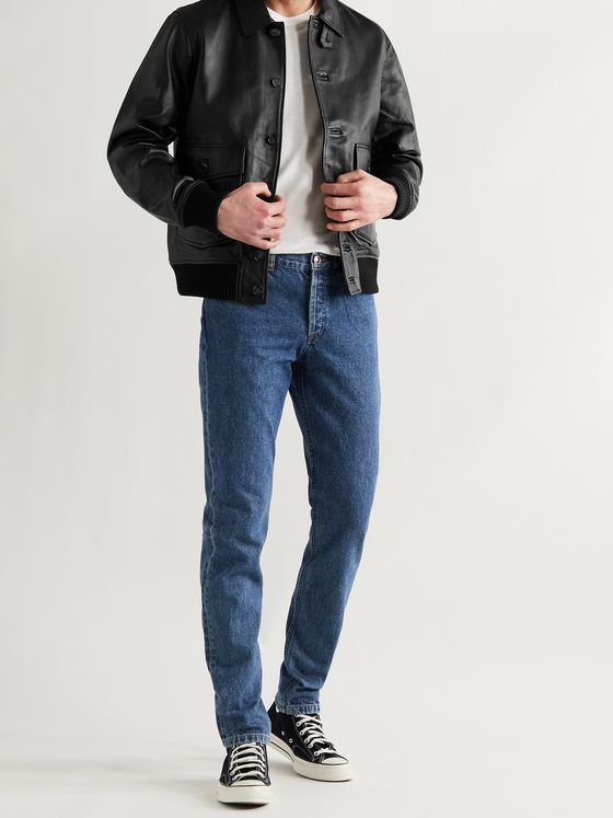 OFFICINE GÉNÉRALE Jim Leather Bomber Jacket