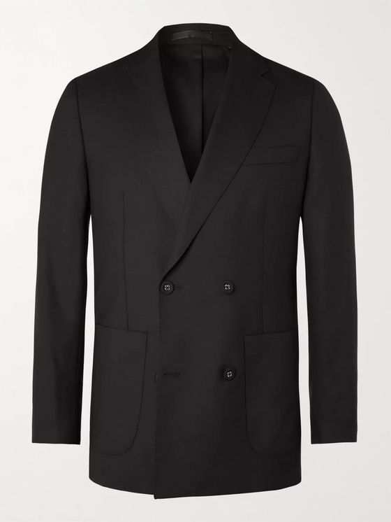 OFFICINE GÉNÉRALE Leon Unstructured Double-Breasted Virgin Wool-Flannel Suit Jacket
