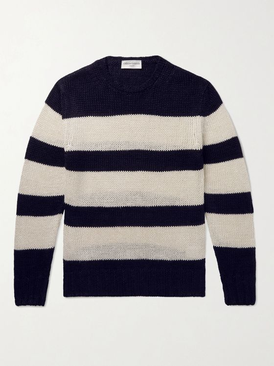 OFFICINE GÉNÉRALE Marco Striped Linen and Cotton-Blend Sweater