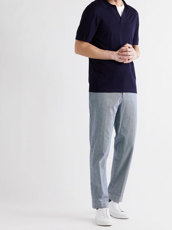 OFFICINE GÉNÉRALE Owen Tapered Belted Striped Denim Chinos