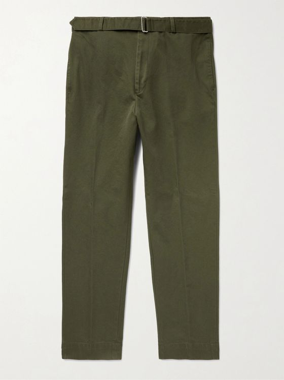 OFFICINE GÉNÉRALE Owen Tapered Belted Cotton-Twill Chinos
