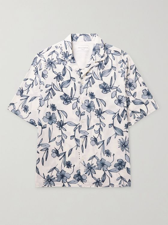 OFFICINE GÉNÉRALE Eren Camp-Collar Printed Cotton-Blend Shirt
