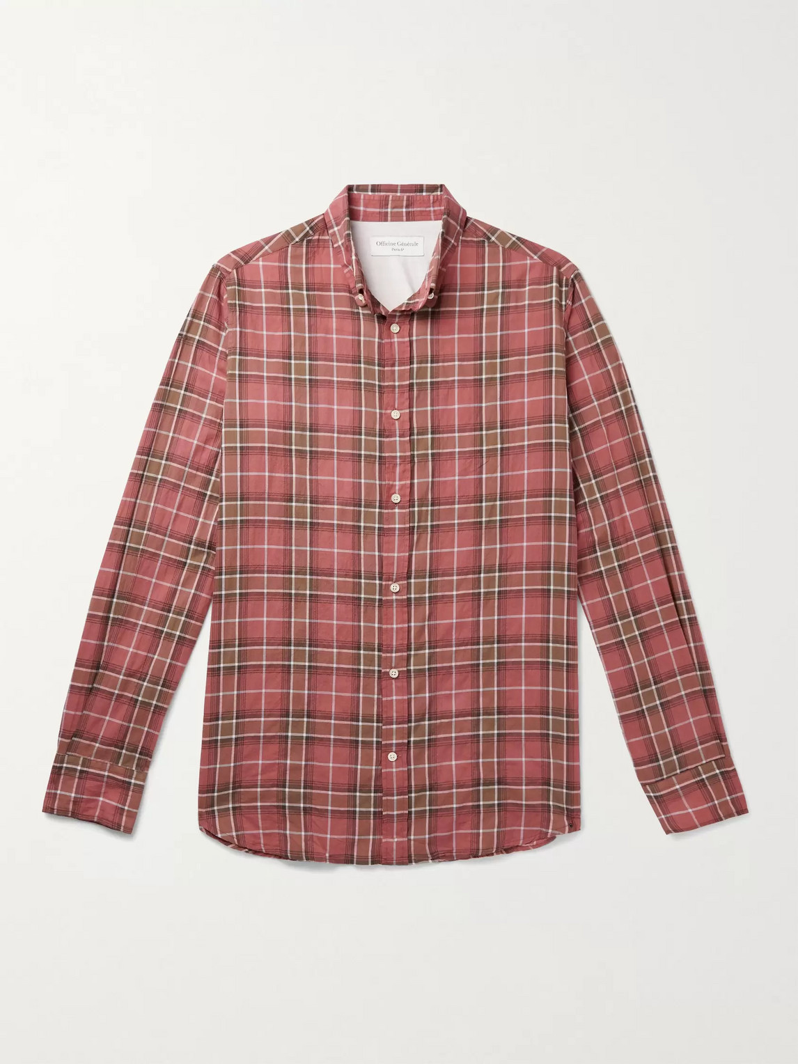 Officine Generale ANTIME BUTTON-DOWN COLLAR CHECKED STRETCH-COTTON SHIRT