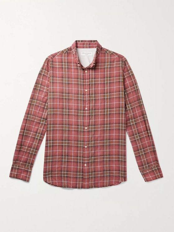 OFFICINE GÉNÉRALE Antime Button-Down Collar Checked Stretch-Cotton Shirt