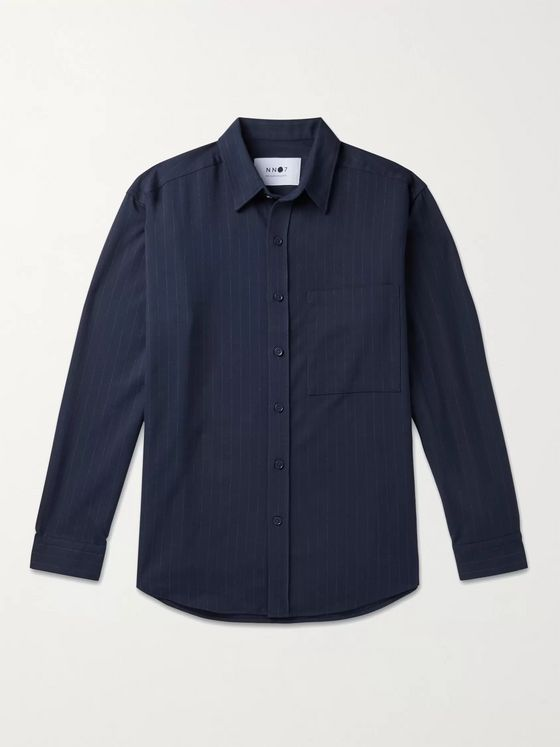 NN07 Arthur Pinstriped Twill Overshirt