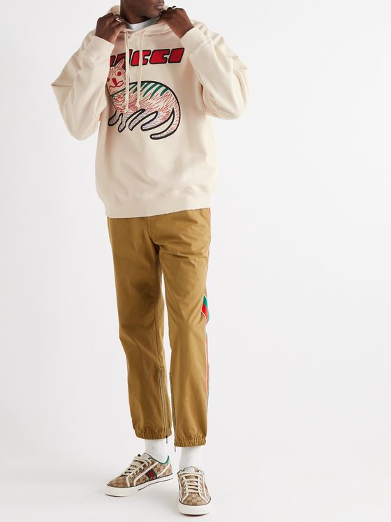 Gucci Oversized Distressed Printed Loopback Cotton-Jersey Hoodie