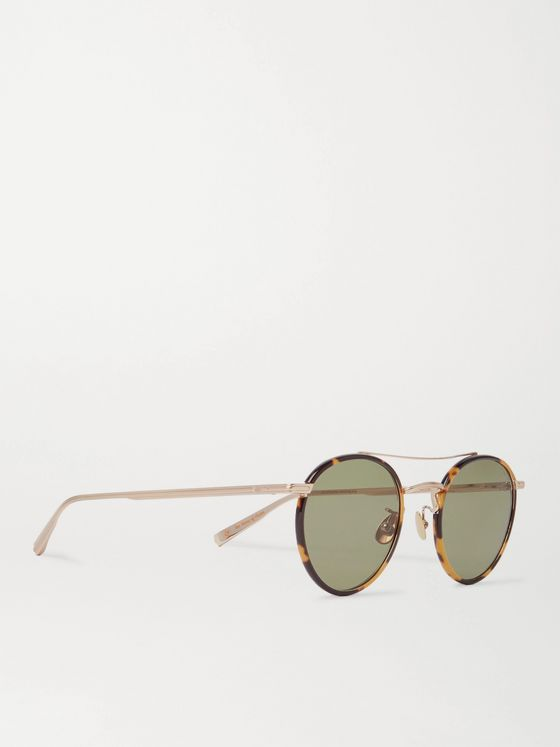 Garrett Leight California Optical + Rimowa Wilson 49 Round-Frame Gold-Tone and Tortoiseshell Acetate Sunglasses