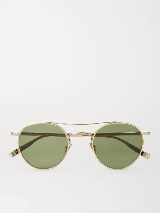 GARRETT LEIGHT CALIFORNIA OPTICAL + Rimowa Wilson 49 Limited Edition Round-Frame Gold-Tone Sunglasses