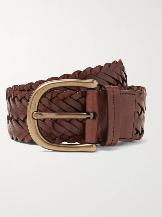 TOM FORD 4.5cm Dark-Brown Woven Leather Belt