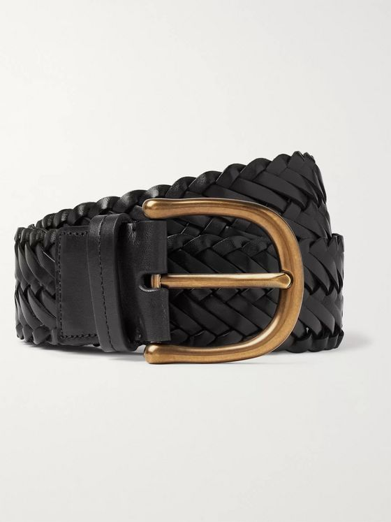 TOM FORD 4cm Black Woven Leather Belt