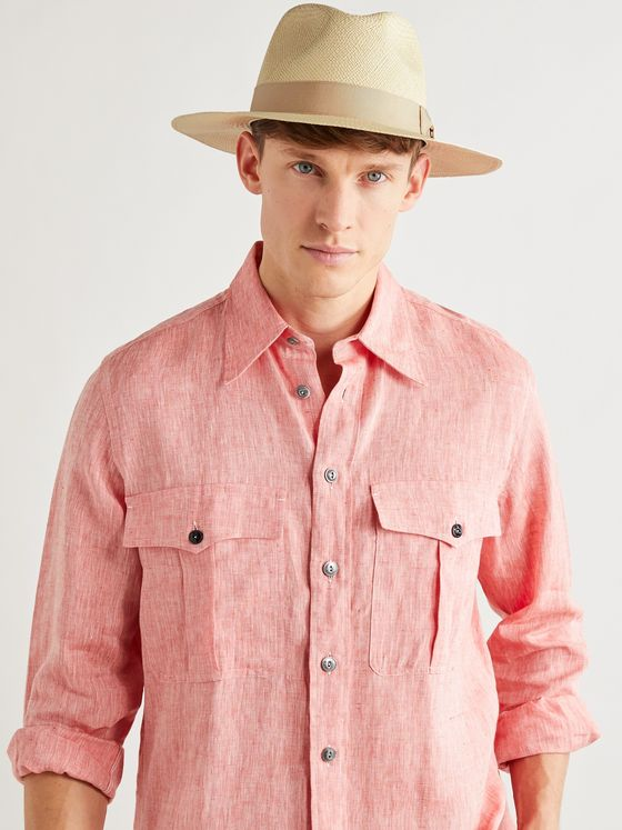 Lock & Co Hatters Fylde Grosgrain-Trimmed Straw Panama Hat
