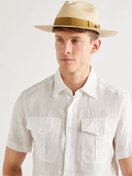 LOCK & CO HATTERS Grosgrain-Trimmed Straw Panama Hat