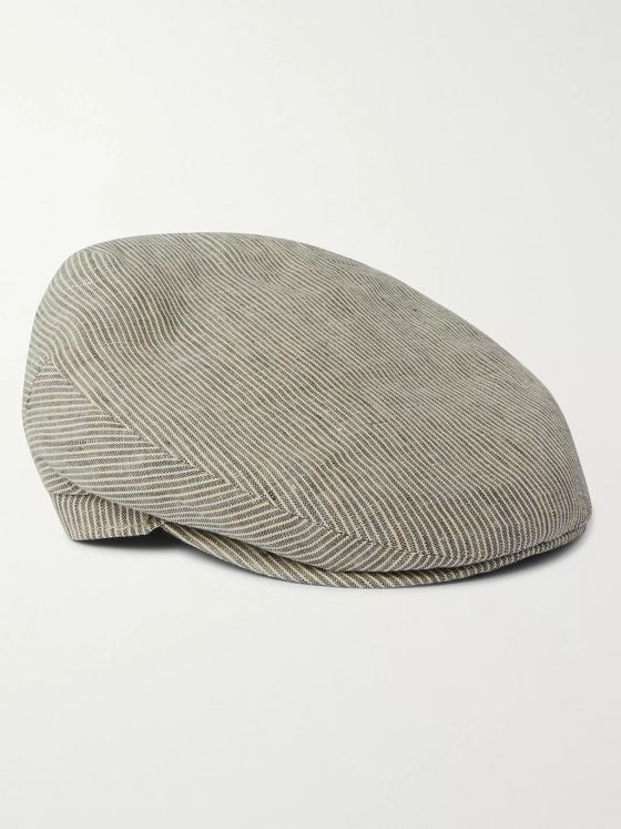LOCK & CO HATTERS Cannes Striped Linen-Seersucker Flat Cap