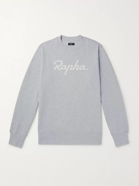 RAPHA Logo-Embroidered Mélange Fleece-Back Cotton-Jersey Sweatshirt