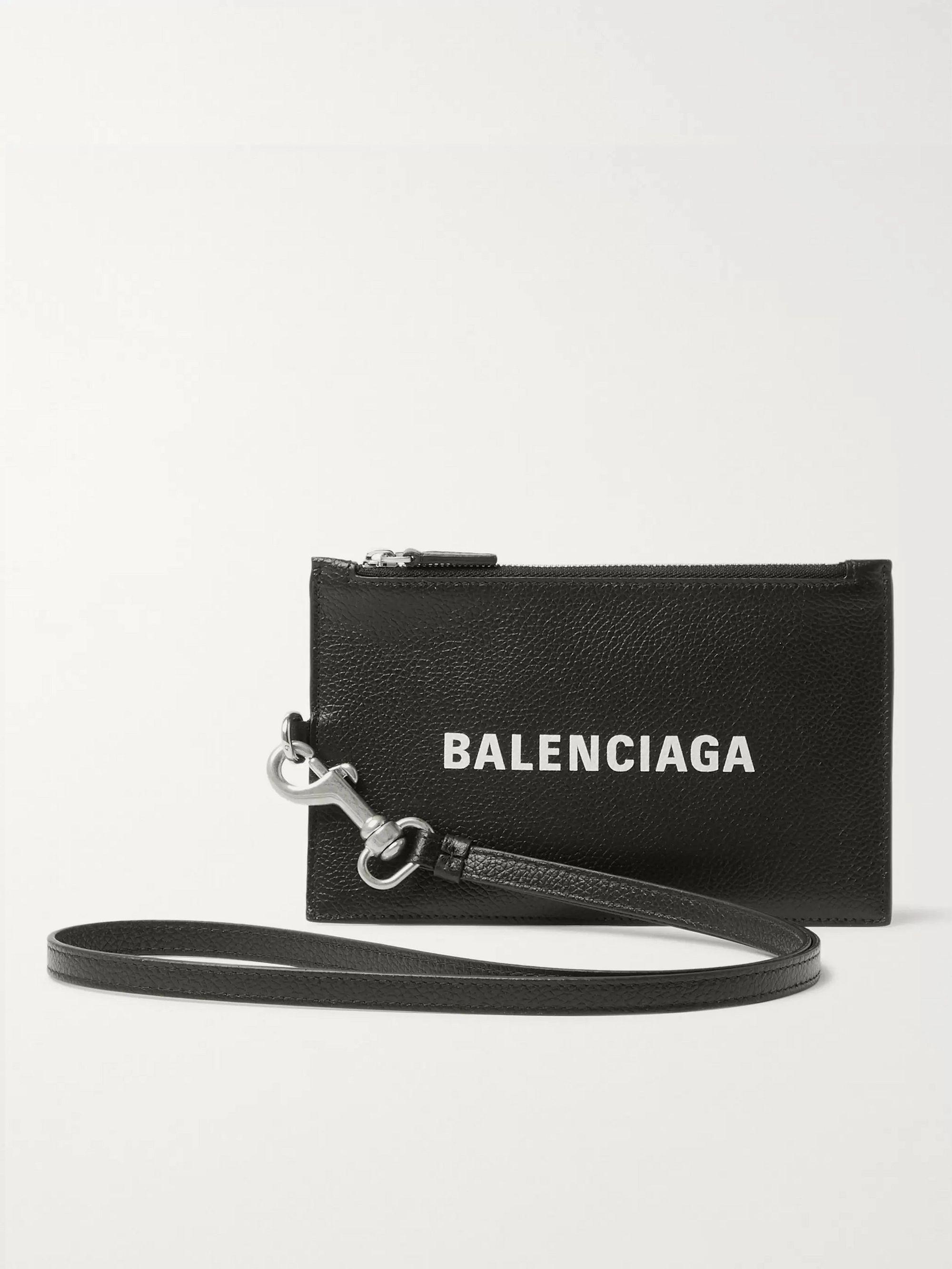 Black Logo-Print Full-Grain Leather