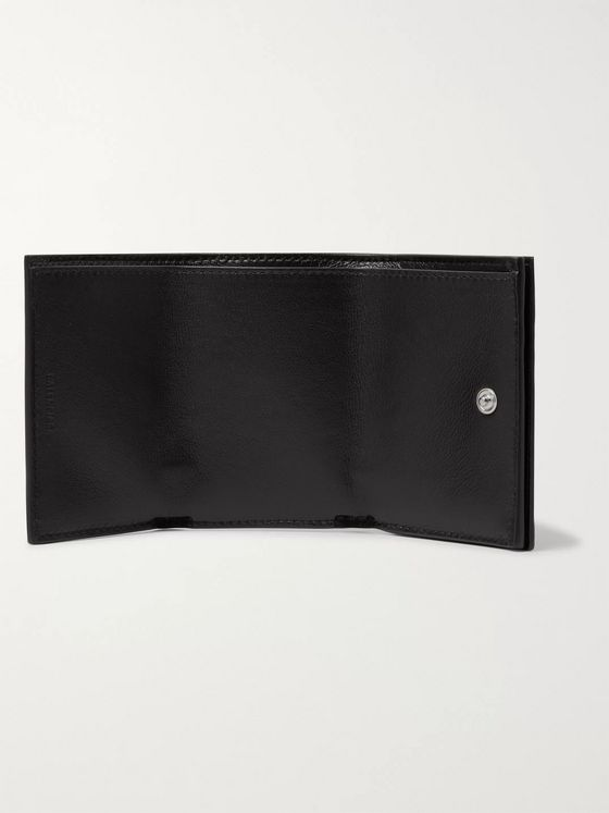 Balenciaga Logo-Print Leather Trifold Wallet