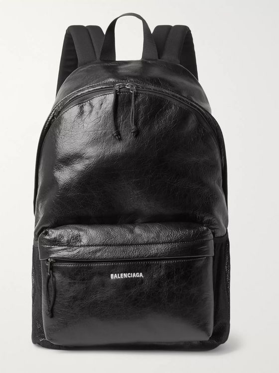 BALENCIAGA Arena Logo-Print Crinkled-Leather Backpack